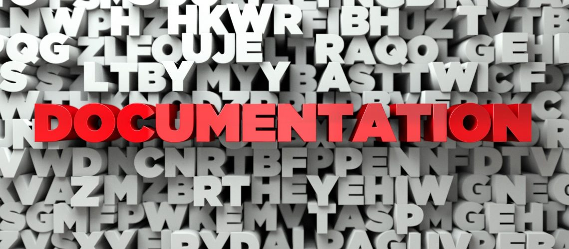 DOCUMENTATION -  Red text on typography background - 3D rendered royalty free stock image. This image can be used for an online website banner ad or a print postcard.