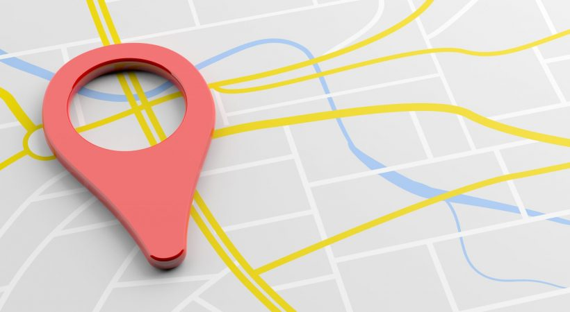 GPS, navigation concept. Pointer location, red color, on map background, banner, copy space. 3d illustration